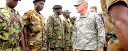 U.S. Army Maj. Gen. David Hogg, center right, inspects Sierra Leone troops in Freetown during a deployment ceremony this year. (U.S. Army Africa / July 28, 2012). www.kismaayodaily.com - your gateway of Somali news around the world.