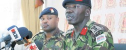 Colonel Cyrus Oguna (right) from Department Of Defence, Operations, and Military Spokesman Major Emmanuel Chirchir. Photo/FILE  Nation Media Group. www.kismaayodaily.com - your gateway of Somali news around the world.