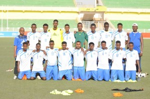From right Sadiq Abdulqader Mahmoud 3rd in the back row pictured at Khartoum stadium on 21st November 2012. Photo: SFF-media Department. www.kismaayodaily.com - your gateway of Somali and Djibouti Sports news around the world.