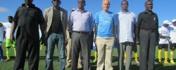 SFF Officials with Kay - UN Rep/Photo: SFF-M.Dept.  www.kismaayodaily.com - your gate way of Somali/Djibouti Sports news around the world