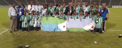 Photo: Djibouti Youngsters celebrate their 3rd place victory at Arab youth football tourney in Doha/PHOTO CECAFA MEDIA.  www.kismaayodaily.com - your gate way of Somali/Djibouti Sports news around the world