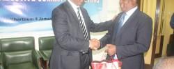CECAFA-Chairman-Dr-Mutasim-Gafaar-left-and-Secretary-General-Nicholas-Musonye-exchange-pleasantries-in-Khartoum-on-Moday-January-4-2016-PHOTO-CECAFA-
