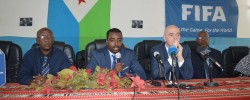 Djibouti FA president Souleiman Hassan  Waberi  with FIFA President Gianni Infantino in action during a press conference, as Djibouti FA president Souleiman Hassan Waberi is pictured left on thursday 24 March 2016 PHOTO by Shafi'i Abokar