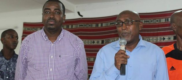 Djiboutian new minister for youth and sport Hassan Mohamed Kamil addresses as Djiboutian Football Federation President Souleiman Hassan Waberi stands on the left PHOTO | CECAFA MEDIA  www.kismaayodaily.com - your gate way of Somali/Djibouti Sports news around the world