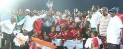 Djibouti Telecom celebrates for  their victory after winning Djibouti Cup on Friday PHOTO | CECAFA MEDIA  www.kismaayodaily.com - your gate way of Somali/Djibouti Sports news around the world