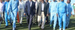 Somali President Hassan Sheik Mahmoud 4th from right and SFF president SFF president Abdiqani Said Arab arrive at Stadium Banadir prior to the kick off PHOTO | by Omar Ibrahim  SFF Media   www.kismaayodaily.com - your gate way of Somali/Djibouti Sports news around the world